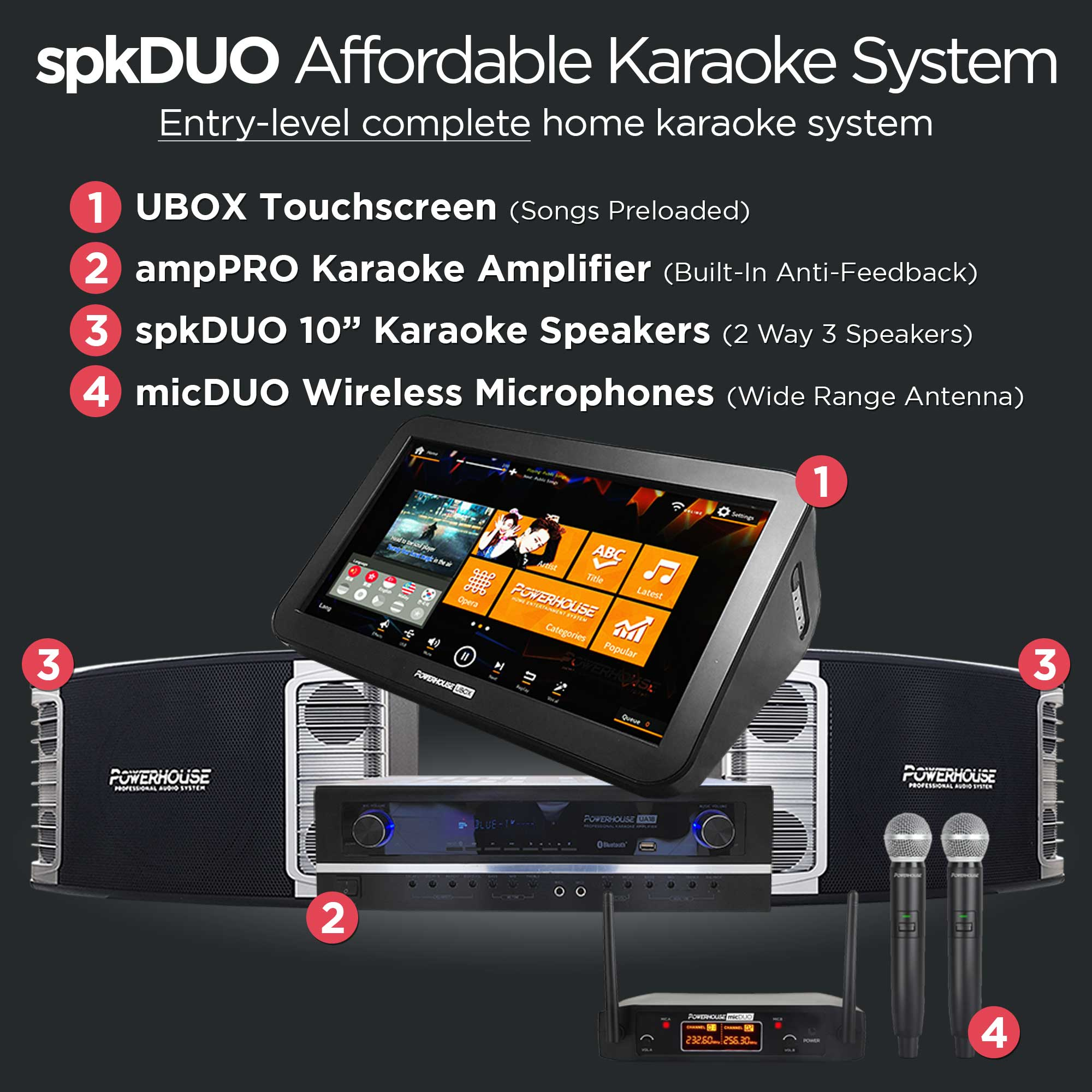 Powerhouse spkDUO Affordable Karaoke System